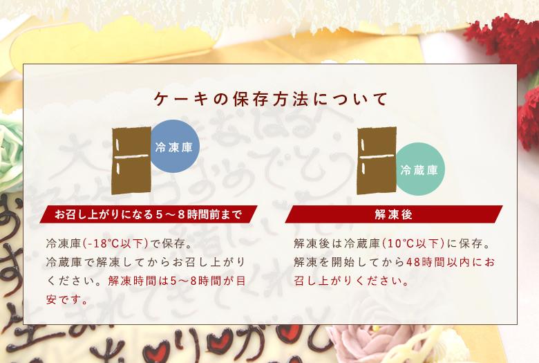 ケーキの解凍方法について